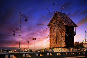 Nesebar town HDR sunset